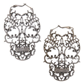 "Hematite 2.5"" Skull Drop Earrings,"