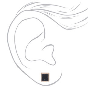 Rose Gold Marbled Square Stud Earrings - Black,