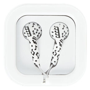 Black & White Music Note Earbuds,