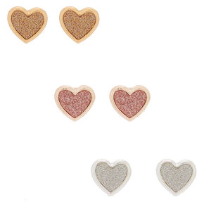 Mixed Metal Heart Stud Earrings - 3 Pack,