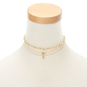 Gold Chain Link Choker Necklaces - 3 Pack,