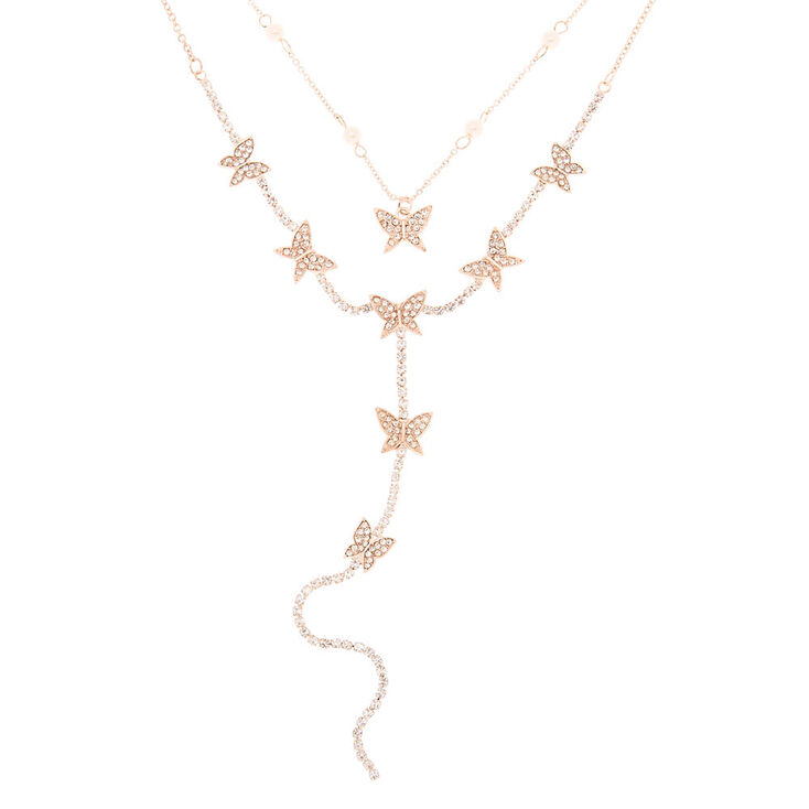 Rose Gold Butterfly Multi Strand Choker Necklace,