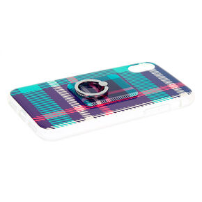Navy Plaid Ring Holder Protective Phone Case - Fits iPhone X/XS,