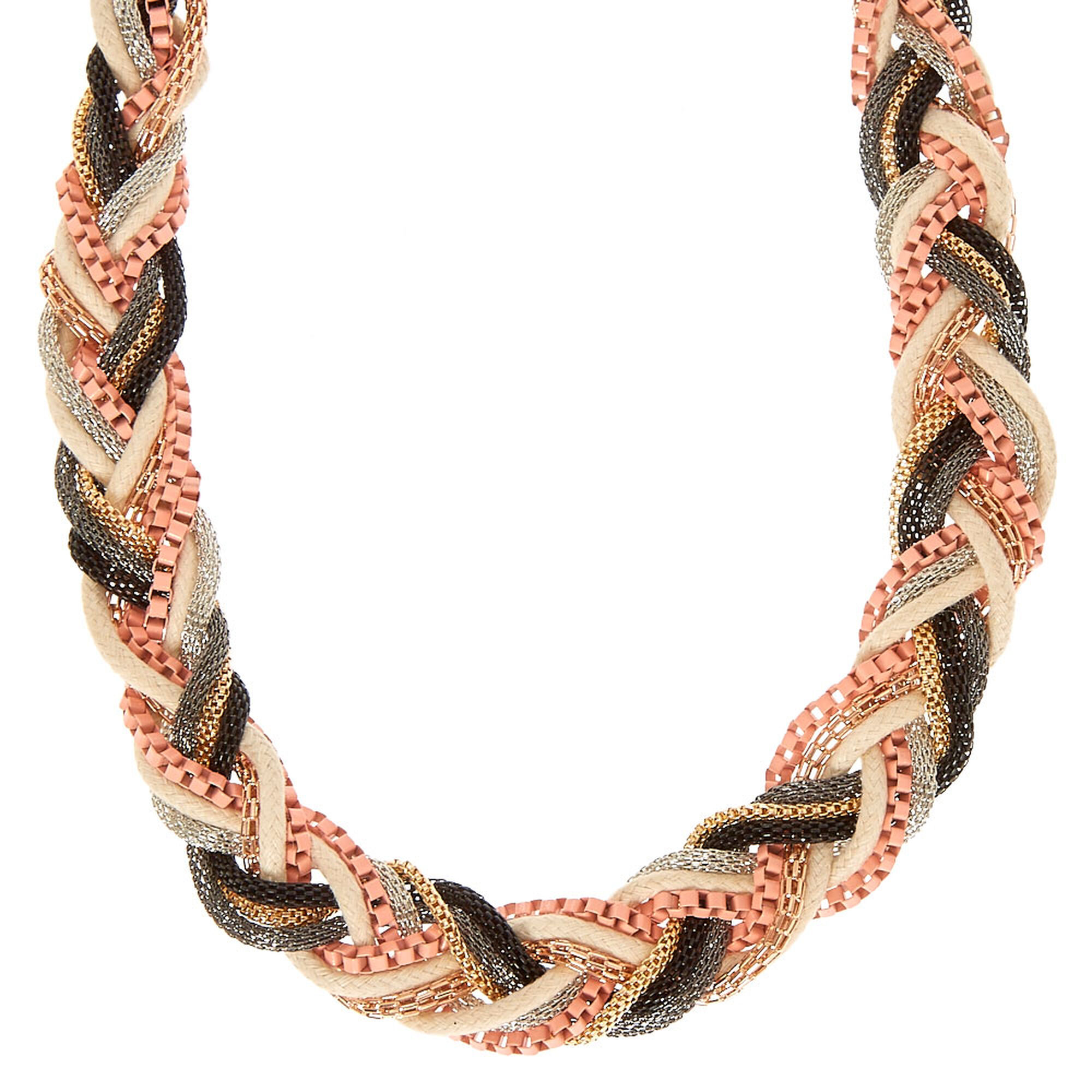 chain ecuatwitt braided statement mixed rope necklace metal choker