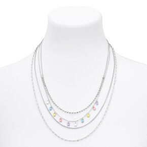 Silver Pastel Charm Multi Strand Necklace,