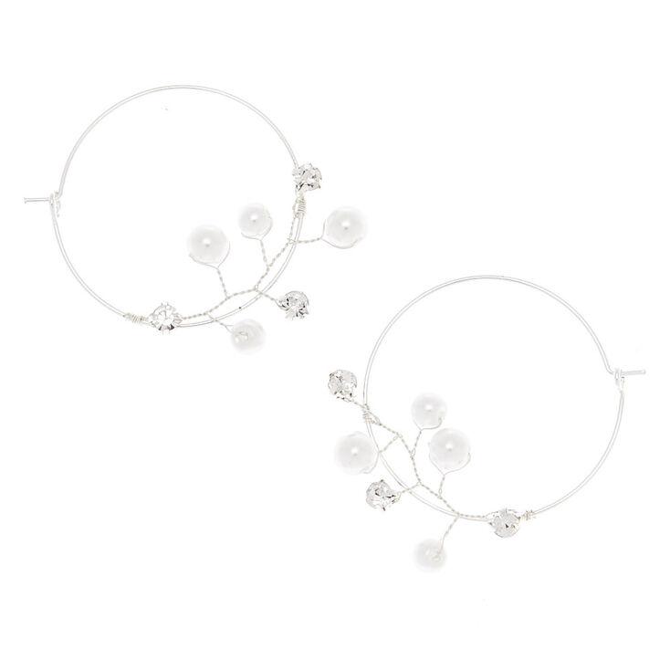 Silver 35MM Pearl Vine Hoop Earrings,