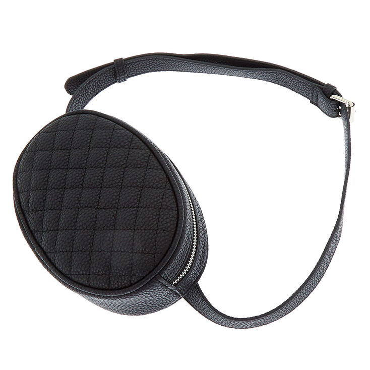 Faux Leather Quilted Fashion Fanny Pack - Black,