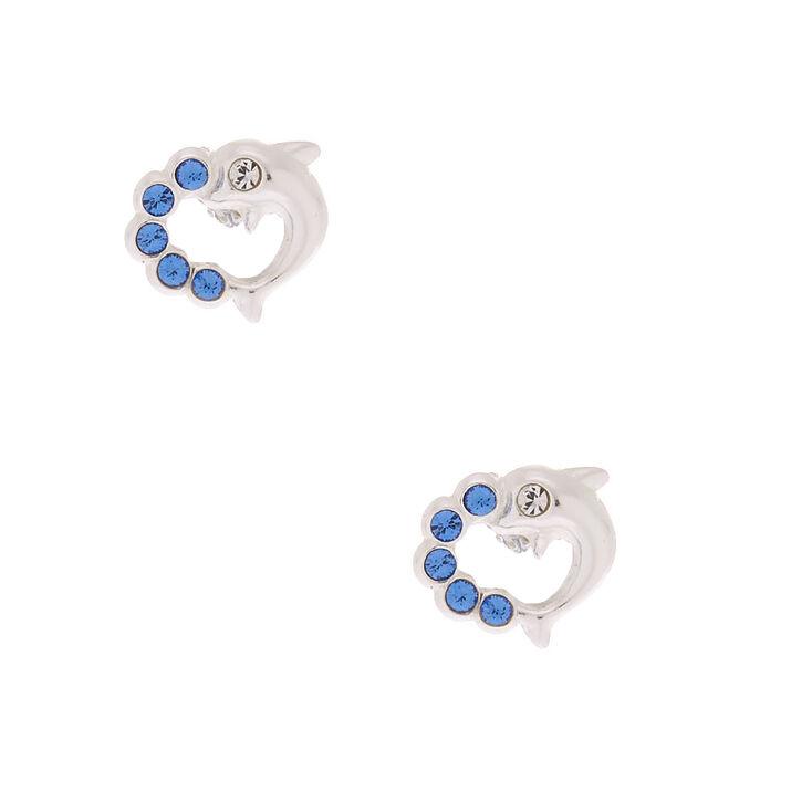 Sterling Silver Dolphin Splash Stud Earrings - Blue,