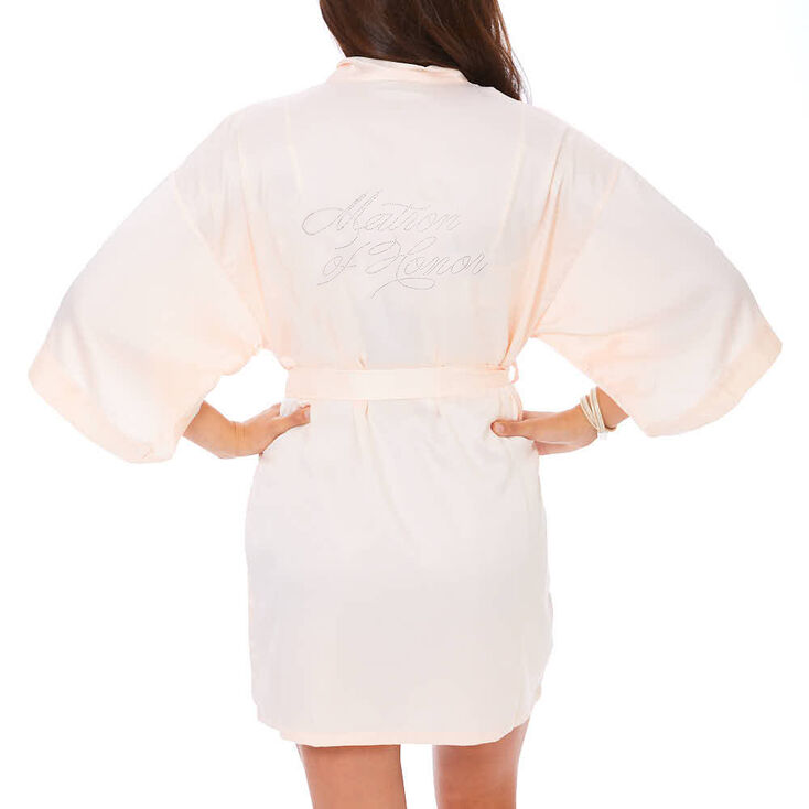 Light Pink Satin & Crystal Matron of Honor Robe - S/M,