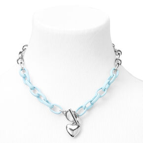 Silver Heart Rubber Chain Necklace - Blue,
