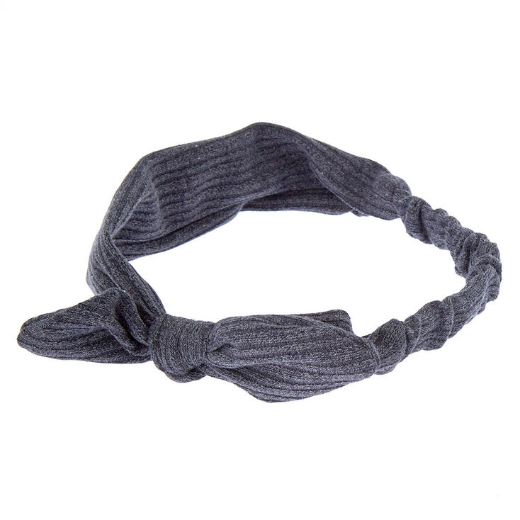 Ribbed Knot Bow Headwrap - Steel Blue,