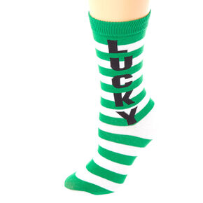 Lucky Striped Crew Socks - Green,