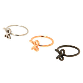 Mixed Metal Bow Nose Rings 3 Pack,