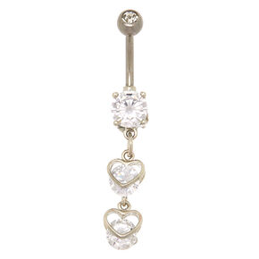 14G Sterling Silver Heart Charm Dangle Belly Ring,
