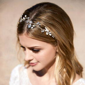2-In-1 Floral Belt & Headwrap - Silver,