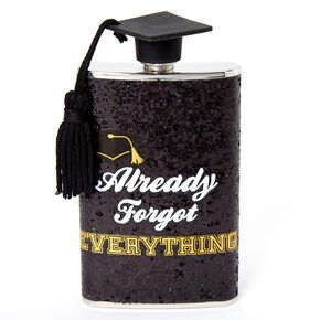 Already Forgot Everything Graduation Flask - Black,