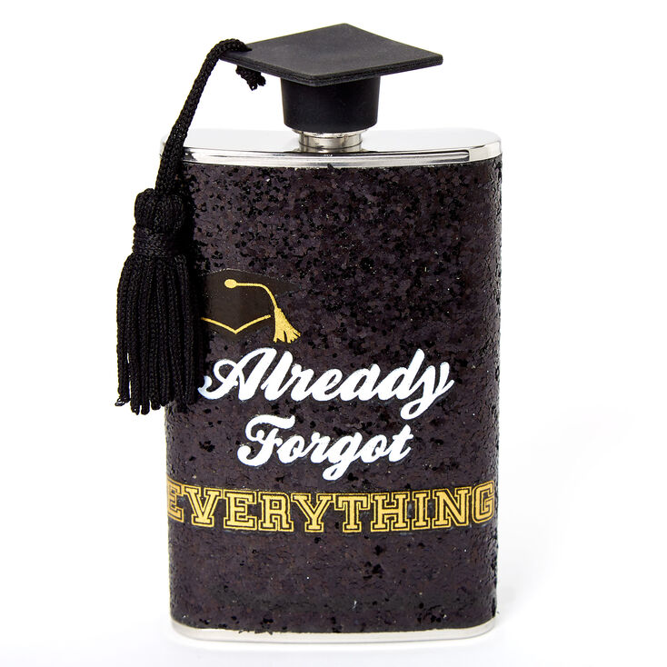 Already Forgot Everything Graduation Flask - Black,