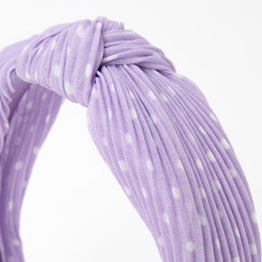 Polka Dot Pleated Knotted Headband - Lilac,