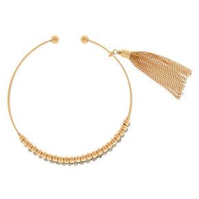 Gold Beaded Tassel Cuff Bracelet - Silver,