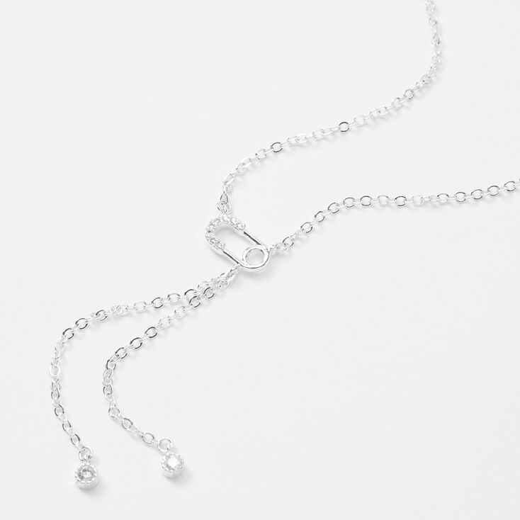 Silver Safety Pin Cubic Zirconia Pendant Necklace,
