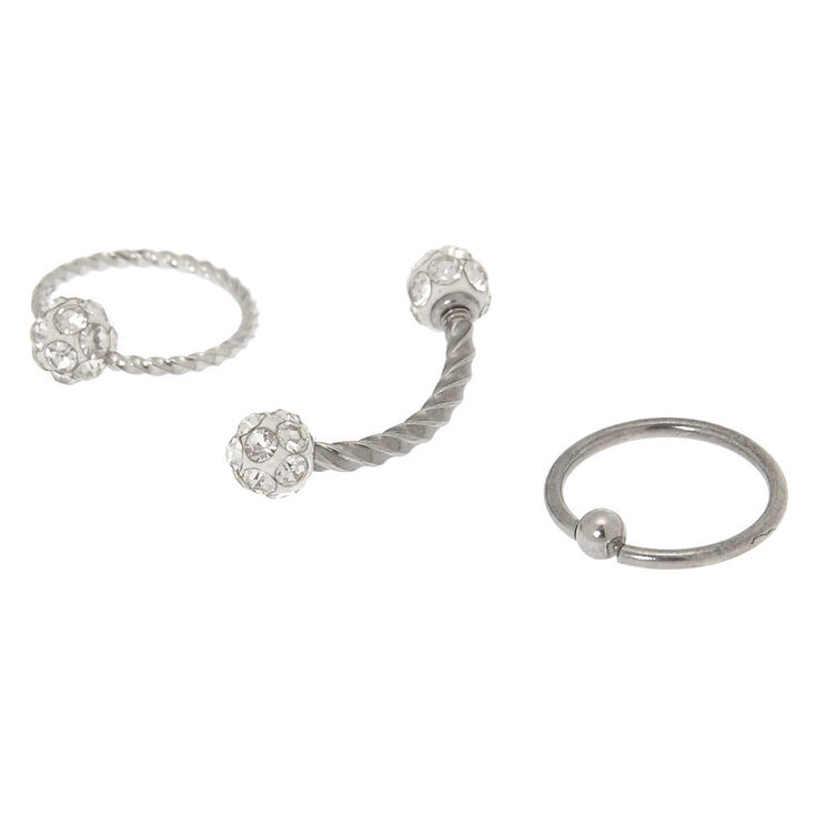 Silver Twisted Fireball Cartilage Earrings - 3 Pack,