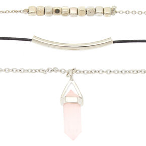 Silver Healing Crystal Choker Necklaces - 3 Pack,