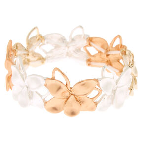 Mixed Metal Flower Stretch Bracelet,