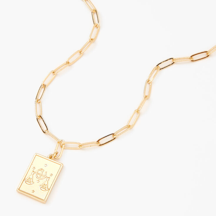 Gold Rectangle Zodiac Symbol Pendant Necklace - Libra,