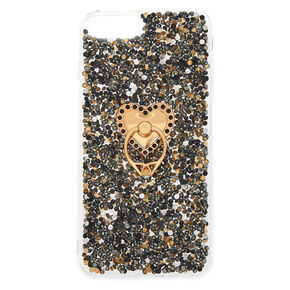 Black Crushed Stone Ring Holder Phone Case - Fits iPhone 6/7/8 Plus,