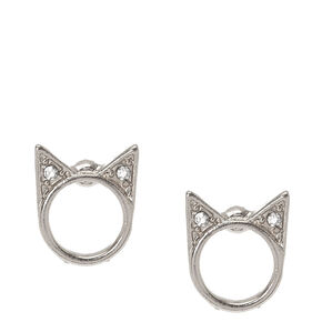 Silver-Tone Halo Cat Stud Earrings,
