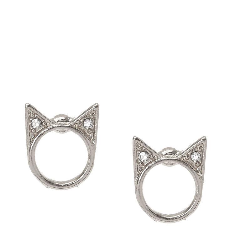 Silver-Tone Halo Cat Stud Earrings,