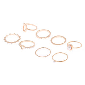 Rose Gold Pearl Heart Rings - 8 Pack,