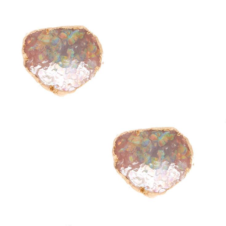 Geode Stud Earrings - Opal,