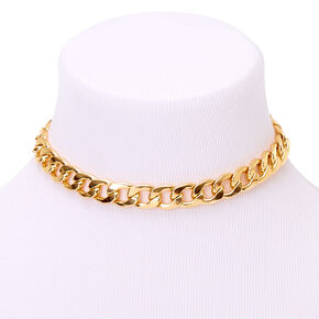 Gold Chunky Chain Choker Necklace,