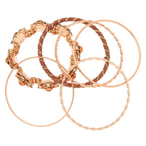 Rose Gold Floral Bling Assorted Bracelets - 6 Pack,