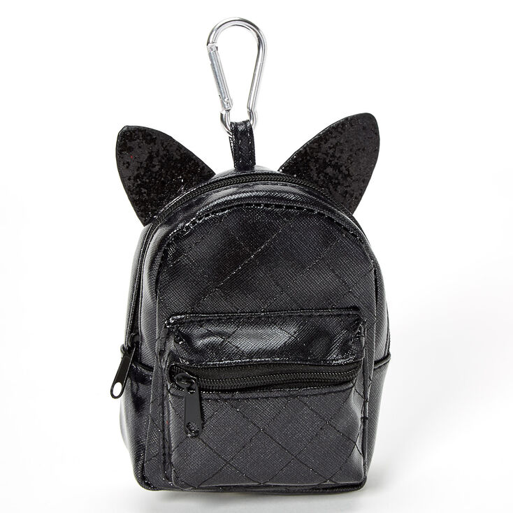 Quilted Glitter Cat Mini Backpack Keychain - Black,