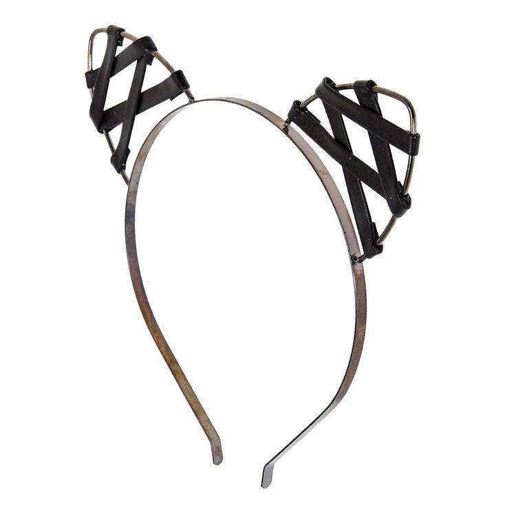 Faux Leather Cat Ears Headband,