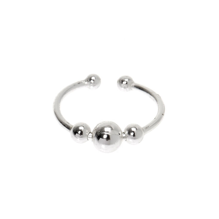 Sterling Silver Beaded Faux Hoop Nose Ring,