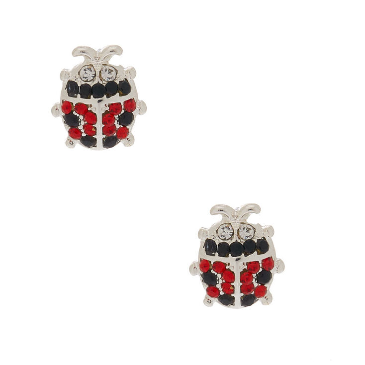 Silver Crystal Ladybug Stud Earrings,