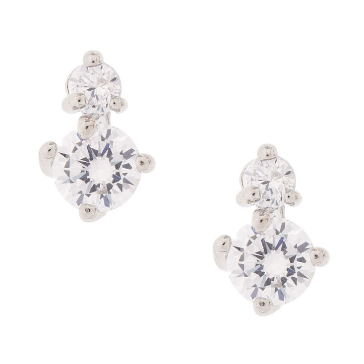 Round Double Cubic Zirconia Stud Earrings,
