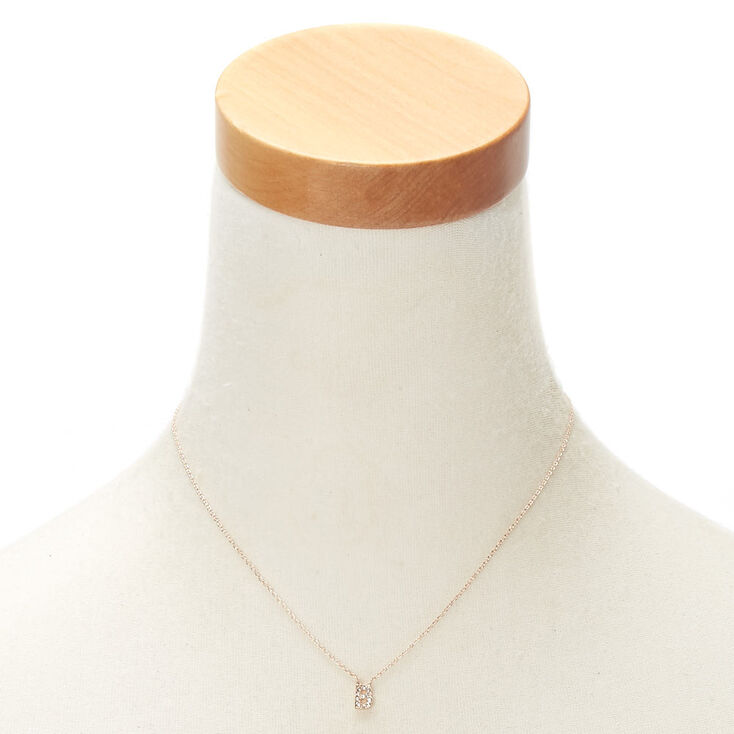 Rose Gold Embellished Initial Pendant Necklace - B,