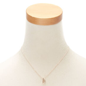 Rose Gold Cursive Initial Pendant Necklace - H,