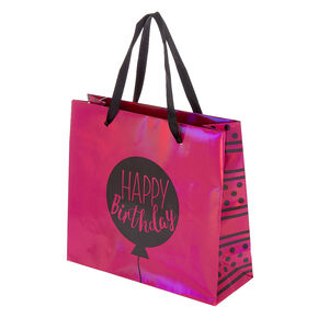 Small Holographic Happy Birthday Gift Bag - Pink,