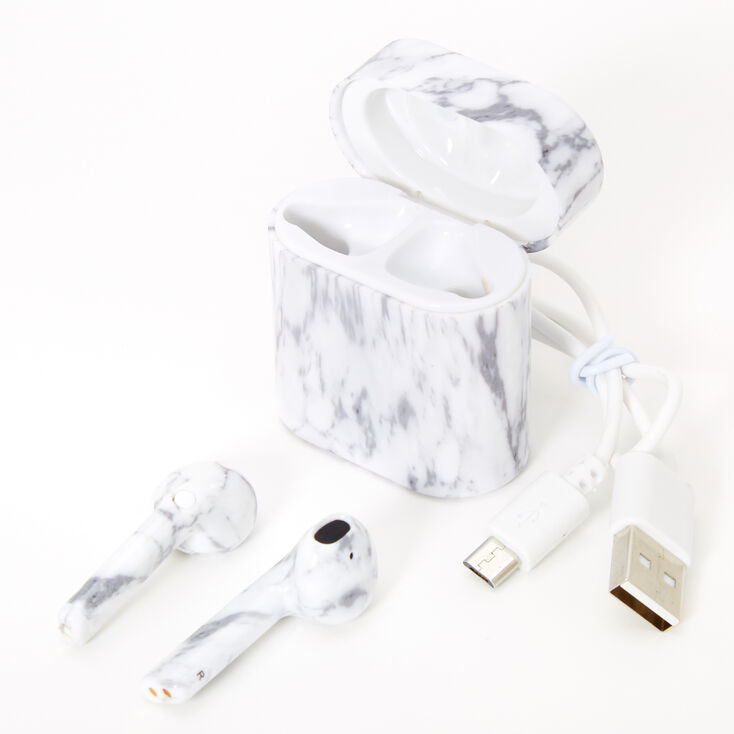 Marble Bluetooth Wireless Earbuds with Charging Case - White,