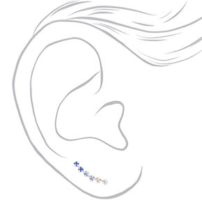 Sterling Silver Ombre Stone Ear Crawler Earrings - Blue,