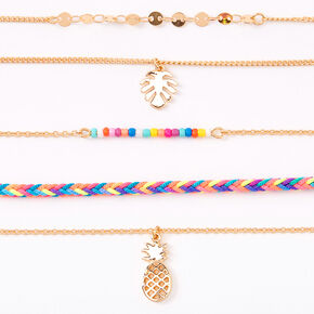 Gold Tropical Rainbow Choker Necklaces - 5 Pack,