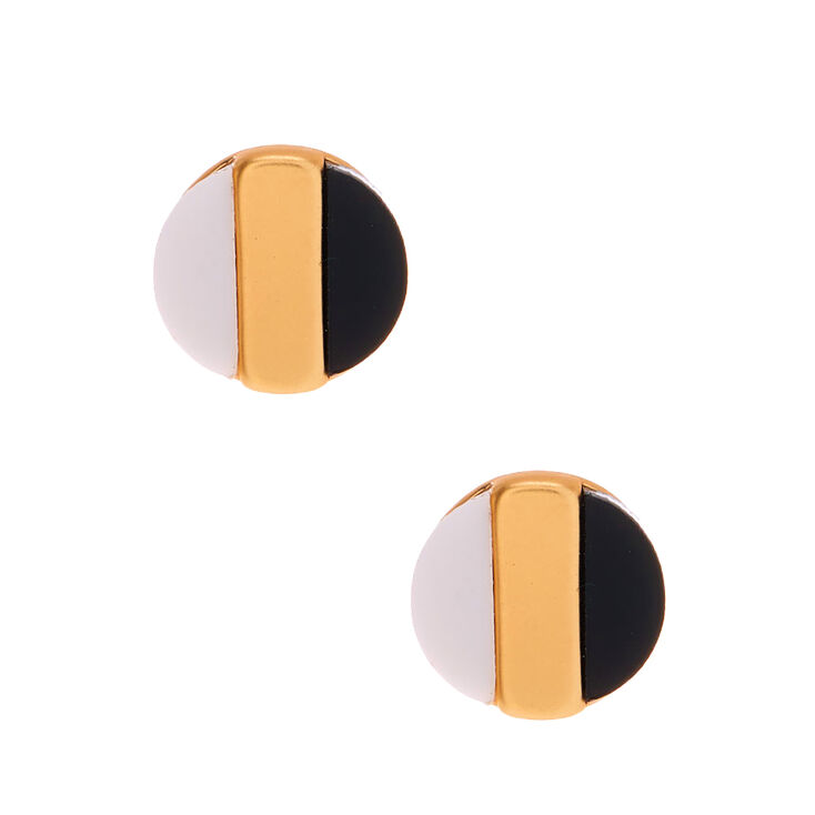 Gold Striped Circle Stud Earrings,