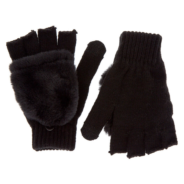 Touch Screen Fingerless Gloves with Furry Mitten Flap - Black,