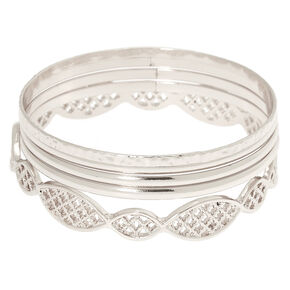 Silver Filigree Bangle Bracelets - 5 Pack,