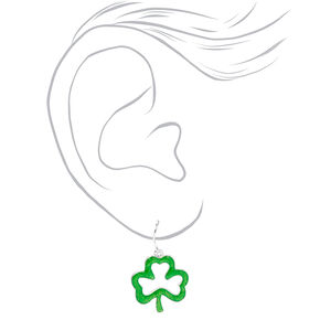 1'' Glitter Shamrock Drop Earrings - Green,